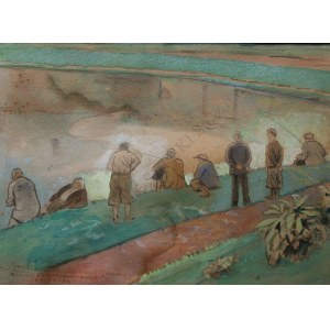 Marceli Nałęcz-Dobrowolski (1876-1959), Wędkarze nad rzeką(1945)