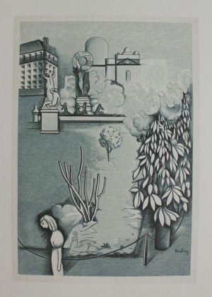 Mojżesz Kisling wg (1891-1953), Pejzaż(Ilustracja do: Héron de Villefosse, L'épopée bohémienne, Aux dépens d'un amateur, Paris, 1959)