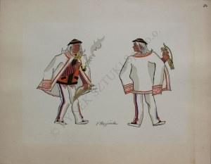 """Zofia Stryjeńska (1894-1976), Z teki """"Polish Peasants costumes"""", pl. 24(Copyright by C. Szwedzicki, 1939)"""