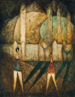 Konstanty GORBATOWSKI, DWIE KOBIETY PRZED MURAMI, 1965