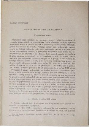 Marian Gumowski, Monety hebrajskie za Piastów, Warszawa 1962