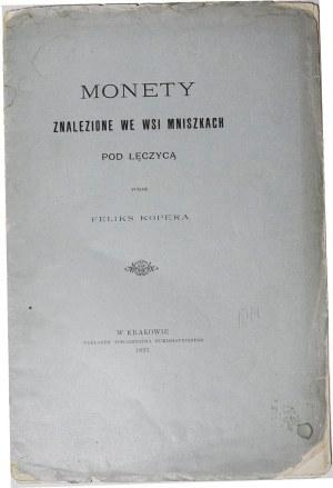Feliks Kopera, Monety znalezione we wsi Mniszkach pod Łęczycą, Kraków 1897