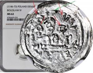 RRR-, Bolesław IV Kędzierzawy, Denar, Relikwiarz SABAL.BERVS, nad księciem MIECZ, napis W CZTERECH WIERSZACH - BO--EVI--SLV--VA
