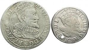 Zestaw dwóch monet: Trojak Ryga 1619 oraz Szóstak Malbork 1596