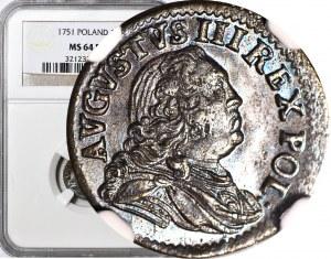 August III Sas, Szeląg 1751, menniczy