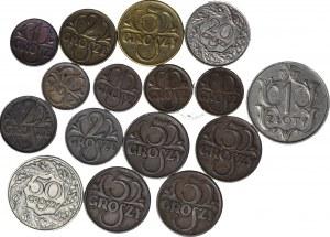16 szt. zestaw monet II RP