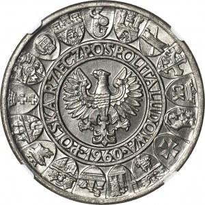 100 złotych 1960, PRÓBA nikiel, Mieszko i Dąbrówka, kratka w tle