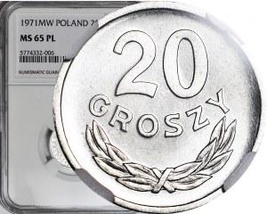 RRR-, 20 groszy 1971, najstarszy rocznik znany w PL, PROOFLIKE, b. rzadki w PL