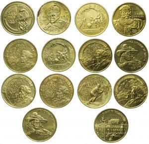 Zestaw czternastu monet 2 złote, ciekawsze typy