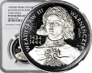 200.000 złotych 1992, Władysław Warneńczyk popiersie, PRÓBA, nikiel