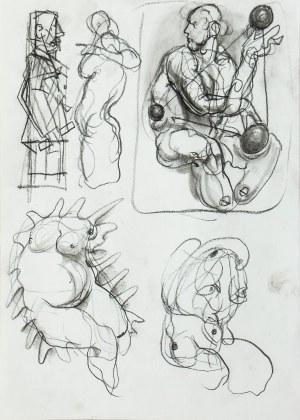 Franciszek STAROWIEYSKI (1930-2009), Karta ze szkicownika ze szkice postaci