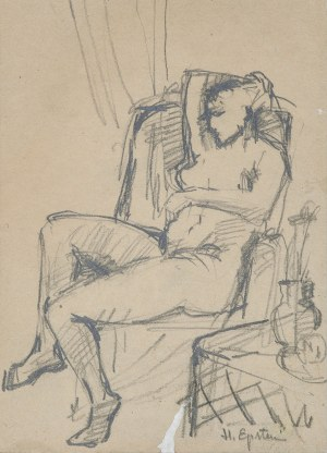 Henryk EPSTEIN (1890-1944), Kobieta siedząca w fotelu - szkic