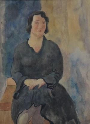 Leonard PĘKALSKI (1896 GRÓJEC-1944 WARSZAWA), Portret Wandy P. w czarnej sukni, 1935