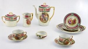 Zestaw do herbaty na sześć osób, w stylu starego Wiednia ze scenami mitologicznymi - dobierany