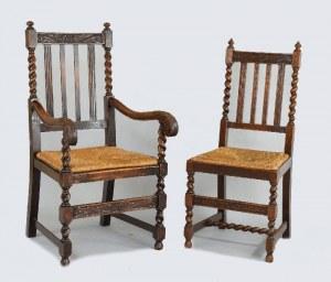 Para foteli + para krzeseł w stylu angielskim, z plecionymi siedziskami