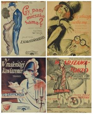 Cztery zeszyty nutowe art déco ze słynnymi przebojami - ilustracje znanych rysowników