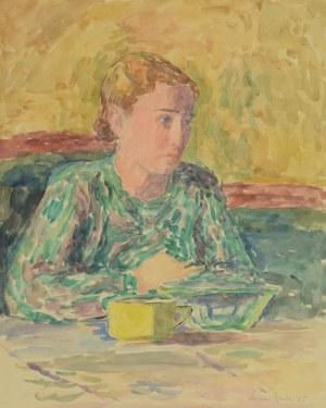 Leonard PĘKALSKI (1896 Grójec-1944 Warszawa), Portret kobiety z żółtą  filiżanką, 1935