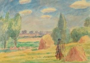 Leonard PĘKALSKI (1896 Grójec-1944 Warszawa), Pejzaż ze snopkami