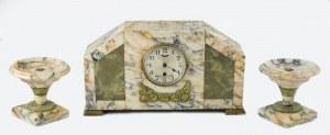 Zegar kominkowy z dwoma podstawkami art déco