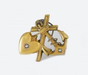 Broszka z symbolami trzech Cnót Kardynalnych: wiara, nadzieja, miłość