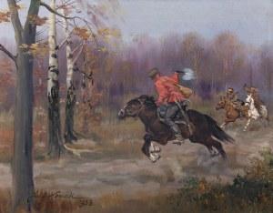 Jerzy Kossak (1886 Kraków - 1955 tamże), Pogoń, 1938 r.