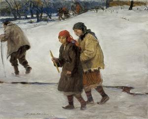 Axentowicz Teodor, POWRÓT Z CERKWI NA HUCULSZCZYŹNIE, OK. 1910