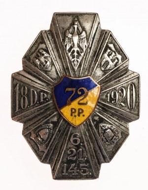 ODZNAKA PAMIĄTKOWA 72 PUŁKU PIECHOTY wz. 1937, oficerska