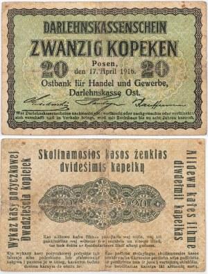 WYKAZ KASY POŻYCZKOWEJ, 20 kopiejek, Poznań, 17.04.1916