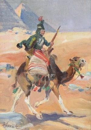 """Wojciech KOSSAK (1856-1942), Huzar napoleoński na wielbłądzie - z cyklu obrazów przygotowawczych do panoramy """"Bitwa pod piramidami"""", ok. 1912"""