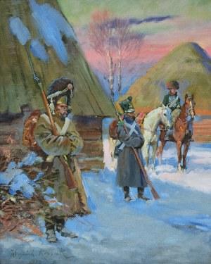Wojciech KOSSAK (1856-1942), Gwardziści armii napoleońskiej strzegący kwatery Cesarza, 1926