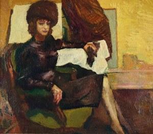 Malarz nieokreślony, rosyjski?, XX w., Dama w fotelu, 1923