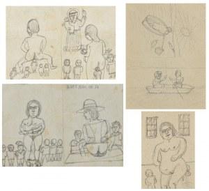 Nikifor KRYNICKI (1895-1968), Zestaw 14 rysunków o tematyce cielesnej i fizjologicznej w tym 1 erotyk [!]