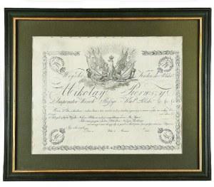 Patent oficerski (blankiet) z okresu Królestwa Polskiego