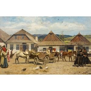 Antoni Kozakiewicz (1841 Kraków - 1929 tamże), Targ w miasteczku galicyjskim, 1922 r.