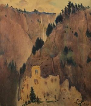 Julian Fałat (1853 Tuligłowy - 1929 Bystra), Pejzaż górski - Czorsztyn, 1913 r.
