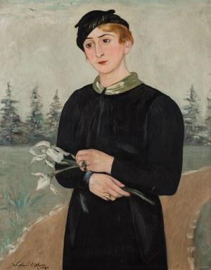 Wlastimil Hofman (1881 Praga - 1970 Szklarska Poręba), Portret żony Ady z irysami, 1934 r.
