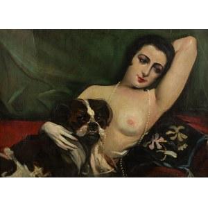 Józef Kidoń (1890 Rudzica – 1968 Warszawa), Akt kobiecy z pieskiem