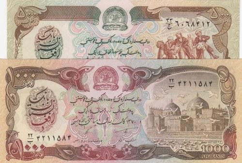 Afghanistan, 500 Afganis and 1000 Afganis, 1979/ 1979, UNC, p59/ p61a, (Total 2 Banknotes)