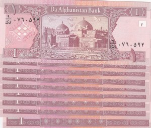 Afghanistan, 1 Afgani, 2002, UNC, p64a, (Total 10 Banknotes)