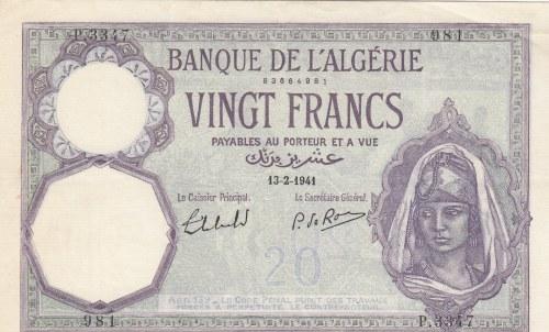 Algeria, 20 Francs, 1941, AUNC, p78c
