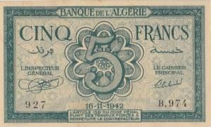 Algeria, 5 Francs, 1942, UNC, p91