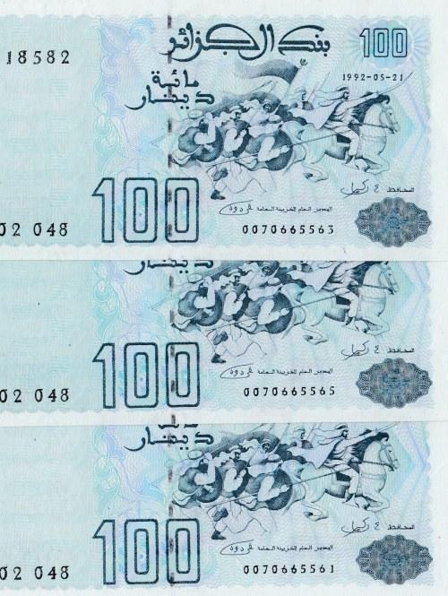 Algeria, 100 Dinars, 1992, UNC, p137, (Total 3 banknotes)