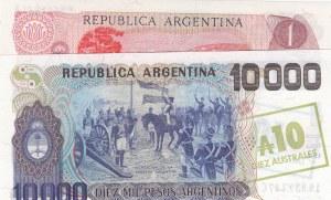 Argentina, 1 Peso and 10000 Australes, 1983-1984/ 1985, UNC, p311a/ p322
