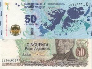 Argentina, 50 Pesos and 50 Pesos, 1983-85/ 2015, UNC, (Total 2 Banknotes)