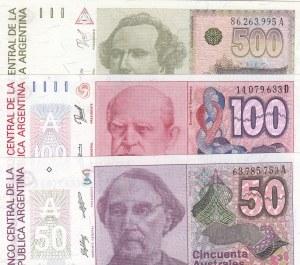 Argentina, 50 Australes, 100 Australes and 500 Australes, 1986/1988, UNC, p326/p327/p328, (Total 3 banknotes)
