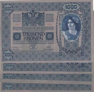 Austria, 1000 Kronen, 1920, AUNC / UNC, p48, (Total 4 banknotes)