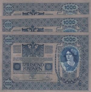 Austria, 1000 Kronen, 1920, UNC, p48, (Total 3 banknotes)