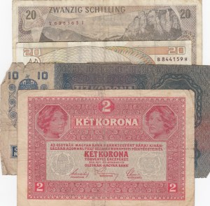 Austria, 2 Kronen, 10 Kronen and 20 Shillings (2), 1915/ 1917 / 1967/ 1986, POOR / FINE, p50/p51 /p148, (Total 4 banknotes)