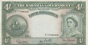 Bahamas, 4 Shillings, 1953, XF, p13b