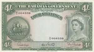 Bahamas, 4 Shillings, 1954, XF- AUNC, p13b